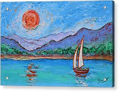 Acrylic Print featuring the painting Sailing Red Sun by Xueling Zou