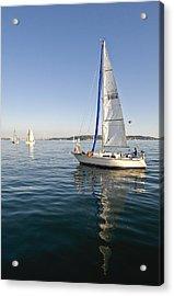 Sailing Reflection Acrylic Print by Tom Dowd