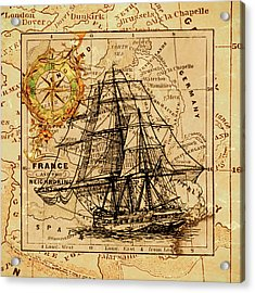 Sailing Ship Map Acrylic Print