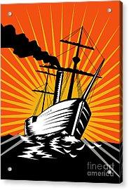 Sailing Ship Retro Woodcut Acrylic Print by Aloysius Patrimonio