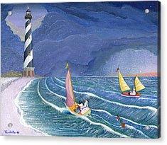 Sailing Snowmen Acrylic Print by Thomas Griffin