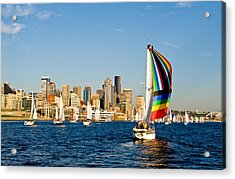 Sailing Some Color To Seattle Acrylic Print by Tom Dowd