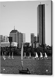 Sailing The Charles River Boston Ma Black And White Acrylic Print