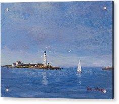 Sailing To Boston Light Acrylic Print