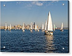 Sailing To The Space Needle Acrylic Print by Tom Dowd