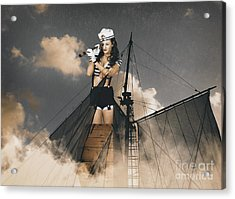 Sailor Pinup Girl On Lookout From Ships Crows-nest Acrylic Print by Jorgo Photography - Wall Art Gallery