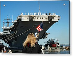 Sailors Aboard Aircraft Carrier Uss Acrylic Print by Stocktrek Images