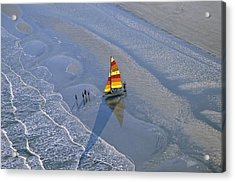 Sailors Take To The Ocean While Acrylic Print by Kenneth Garrett