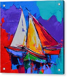 Acrylic Print featuring the painting Sails Colors by Elise Palmigiani