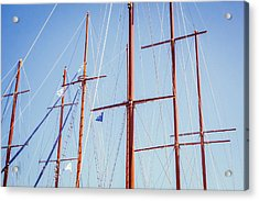 Sails In Santorini Acrylic Print by Matti Ollikainen