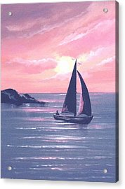 Sails In The Sunset Acrylic Print by Cathal O malley