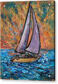 Sails Up Acrylic Print by Xueling Zou