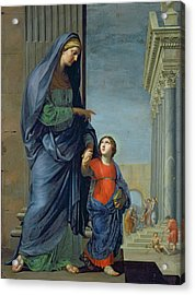 Saint Anne Leading The Virgin To The Temple Acrylic Print by Jacques Stella