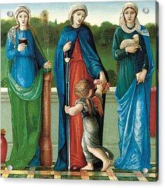 Saint Barbara And Saint Dorothy With Saint Agnes Acrylic Print by Sir Edward Coley Burne-Jones