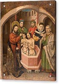 Saint Bartholomew Baptising Acrylic Print by Master of Saint Bartholomew