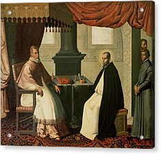 Saint Bruno And Pope Urban II Acrylic Print by Francisco de Zurbaran