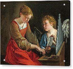 Saint Cecilia And An Angel Acrylic Print