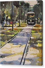 Saint Charles Street Trolley Acrylic Print by Spencer Meagher