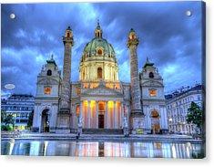 Saint Charles's Church At Karlsplatz In Vienna, Austria, Hdr Acrylic Print