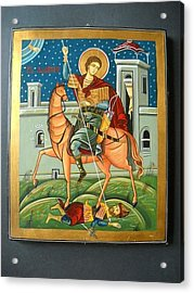 Saint Demeter St. Demetrios St. Dmitry Hand Painted Orthodox Holy Icon Acrylic Print by Denise Clemenco