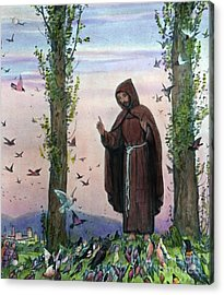 Saint Francis Of Assisi Preaching To The Birds Acrylic Print by German School