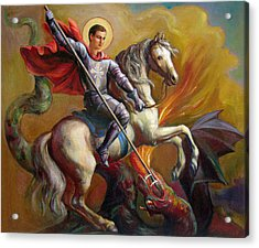 Acrylic Print featuring the painting Saint George And The Dragon by Svitozar Nenyuk
