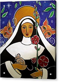 Acrylic Print featuring the painting Saint Gertrude Of Nivelles by Jan Oliver-Schultz