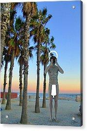 Saint In Bogatell Beach Acrylic Print by Quim Abella