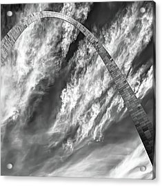 Saint Louis Arch And Clouds Right Black And White 1x1 Acrylic Print