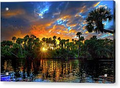 Saint Lucie River Sunset Acrylic Print by Mark Andrew Thomas