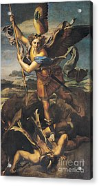 Saint Michael Overwhelming The Demon Acrylic Print by Raphael