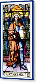 Acrylic Print featuring the photograph Saint Michael The Archangel Stained Glass Window by Rose Santuci-Sofranko