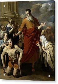 Saint Paul Healing The Cripple At Lystra Acrylic Print by Karel Dujardin