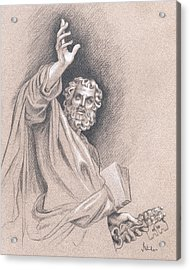 Acrylic Print featuring the drawing Saint Peter by Joe Winkler