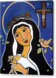 Acrylic Print featuring the painting Saint Rita - Patron Of Impossible Causes by Jan Oliver-Schultz