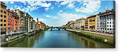 Panoramic View Of Saint Trinity Bridge From Ponte Vecchio In Florence, Italy Acrylic Print