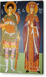 Saints Dimitrius And Aekaterina Acrylic Print by George Siaba
