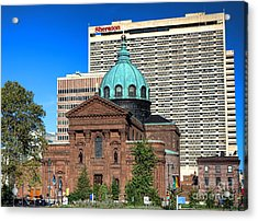 Saints Peter And Paul And Sheraton Hotel In Philadelphia  Acrylic Print by Olivier Le Queinec
