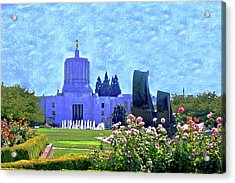 Salem Oregon State Capital Acrylic Print by Margaret Hood