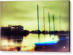 Acrylic Print featuring the photograph Salford Quays Boats Waiting by Isabella F Abbie Shores FRSA