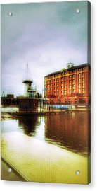 Acrylic Print featuring the photograph Salford Quays Red Brick Building by Isabella F Abbie Shores FRSA