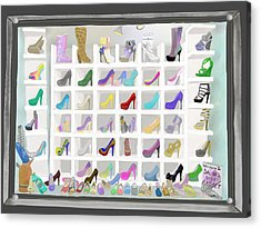 Acrylic Print featuring the painting Salina's Shoe Closet by Melinda Ledsome