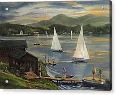 Sailing At Lake Morey Vermont Acrylic Print by Nancy Griswold