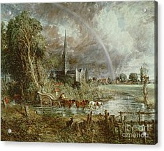 Salisbury Cathedral From The Meadows Acrylic Print by John Constable