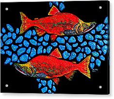 Acrylic Print featuring the painting Salmon by Debbie Chamberlin