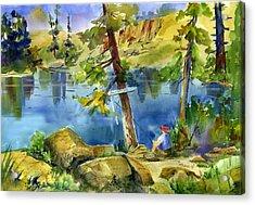 Salmon Lake Fisherman Acrylic Print