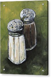 Salt And Pepper On Green Acrylic Print by Torrie Smiley