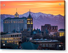 Salt Lake City Hall At Sunset Acrylic Print