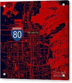 Salt Lake City Map, Nterstate 80 Acrylic Print
