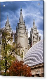 Salt Lake Lds Temple And Tabernacle - Utah Acrylic Print by Gary Whitton